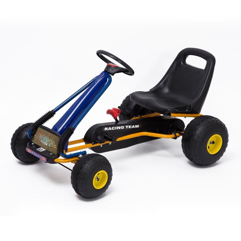 HOMCOM Go-Kart a Pedales para Niños a partir de 3 años con Asiento Ajustable y Freno de Mano 96x68x56 cm Azul y Negro
