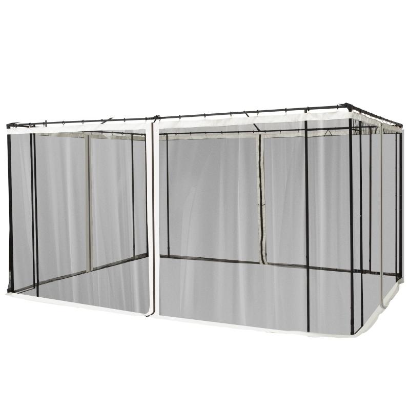 Outsunny 4 Paneles Laterales 352x207 cm para Carpa de Jardín Tela Mosquitera para Cenador Gazebo con Cremalleras y Anillas Negro