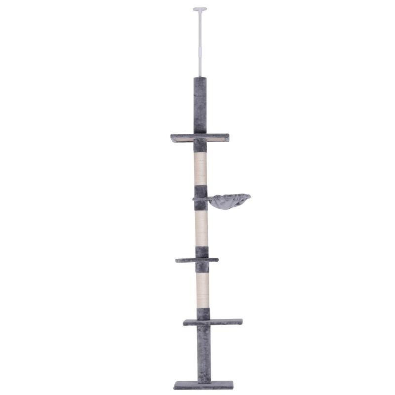 PawHut Árbol para gatos Torre Rascador de 5 Niveles Fijado al Techo Ajustable en Altura con Múltiples Plataformas de Felpa Suave 40x34x230-260 cm Gris