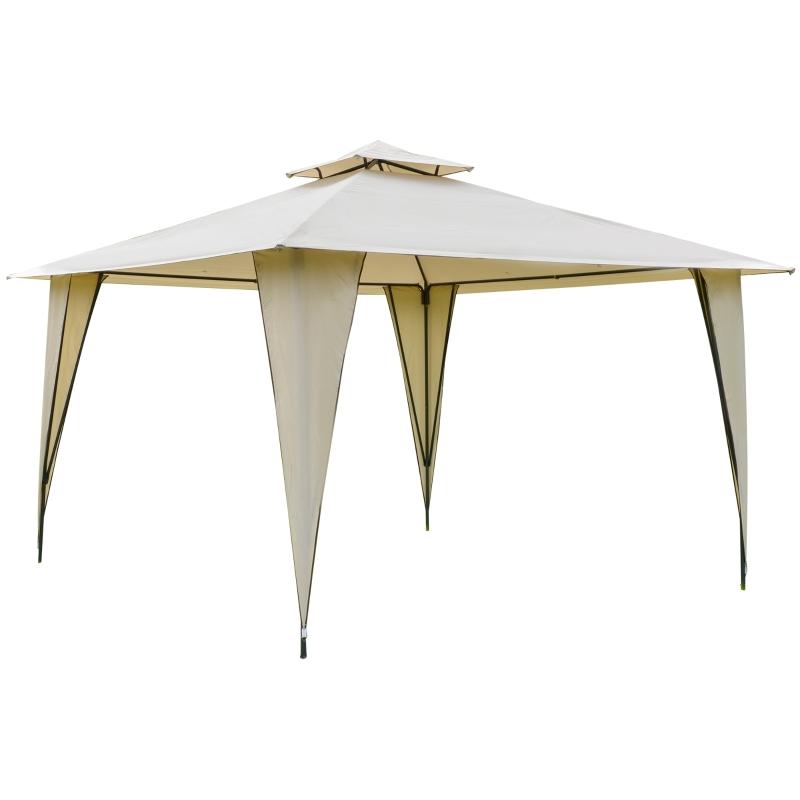 Outsunny Cenador 3,5x3,5 m Carpa con Doble Techo y 8 Orificios de Drenaje para Celebraciones Fiestas Jardín Exteriores Beige