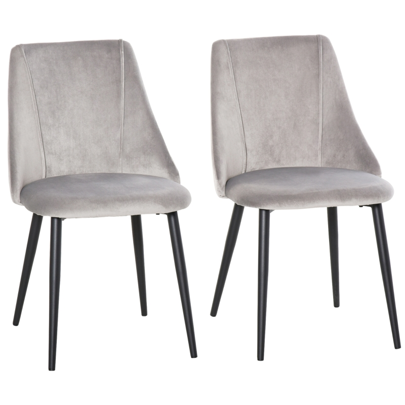 HOMCOM High Back Dining Chairs Modern Upholstered Velvet-Touch Accent Chairs