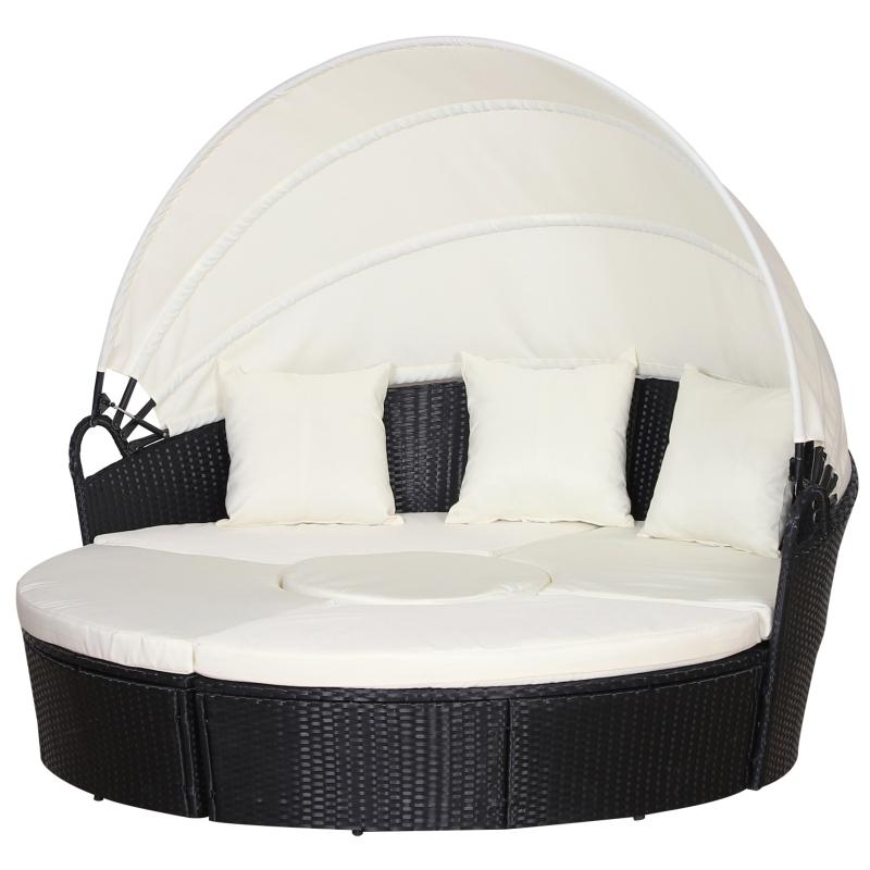 Outsunny Sofá Modular Diseño 2 en 1para Jardín Cama Chill-Out con Toldo Ajustable Estructura Oscura y Cojines Claros