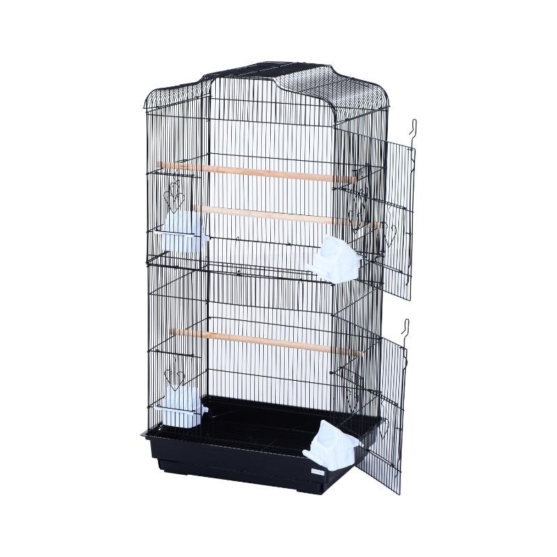 PawHut Jaula para Pájaros Pajarera con 2 Puertas 4 Comederos y 3 Perchas Columpio Asa de Transporte para Loro Canario Periquito Marco Metálico 47,5x36x91 cm Negro
