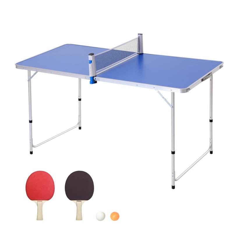 Outsunny Mesa de Ping-Pong Plegable Altura Ajustable de 3 Niveles con Palas y Pelotas 160x80x54/62/70cm Carga Máxima 30kg