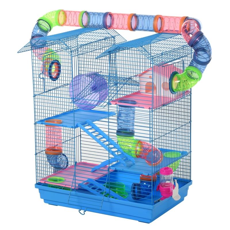 PawHut Jaula para Hámster Hábitat para Animales Pequeños de Múltiples Niveles con 4 Plataformas Bebedero Rueda de Ejercicio Escaleras Sistema de Tubos 47x30x59 cm Azul