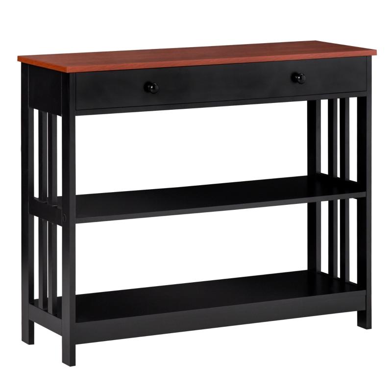 HOMCOM Mueble Recibidor Estrecho Mesa de Consola con 1 Cajón y 2 Estantes Abiertos Estilo Industrial para Pasillo Entrada Sala de Estar 100x30x80 cm Negro y Marrón