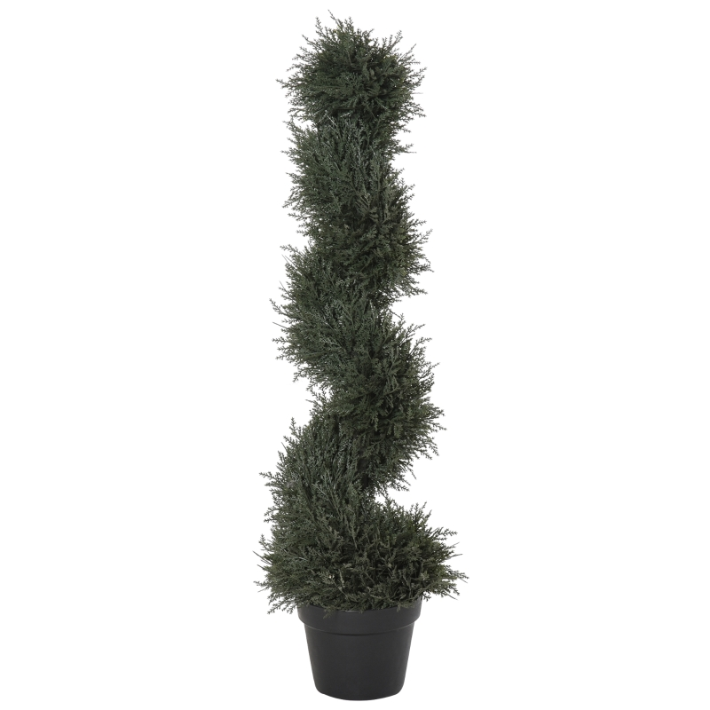 Outsunny Planta Artificial Decorativa de 90 cm con Maceta Árbol de Cedro con Poda Topiaria en Espiral de 650 Hojas Verde Oscuro