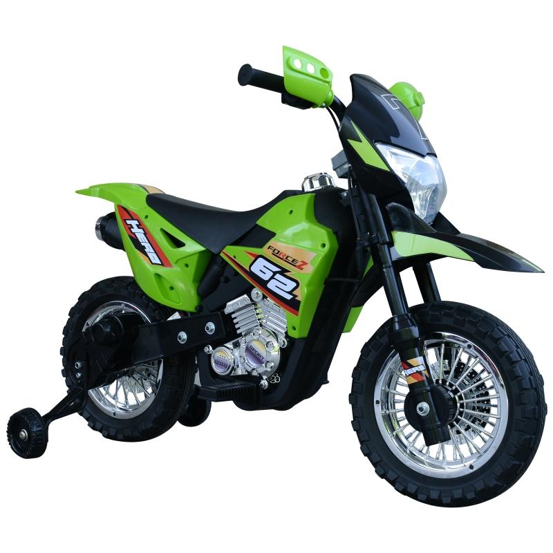 HOMCOM Moto de Batería Infantil Motocicleta Eléctrica para Niños de +3 Años con Luces Música y Ruedas de Apoyo 109x52,2x70,5 cm Verde