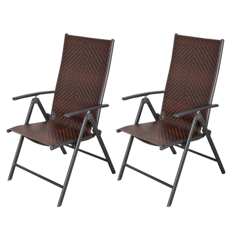 Outsunny Set de 2 Sillas Plegables de Ratán Jardín con Respaldo Alto y Ajustable de 7 Posiciones para Patio Terraza Exteriores 57x67,5x104 cm Marrón