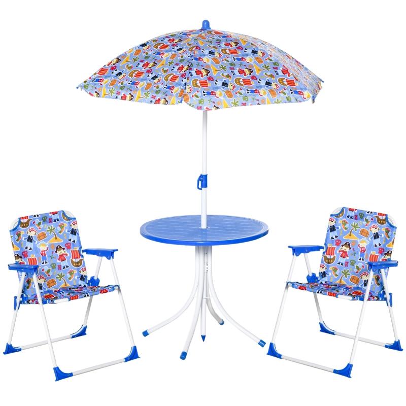 Outsunny Set de Mesa y Sillas Exterior Infantil Conjunto de Picnic Plegable para Jardín Juego de Mesa con Sombrilla Ajustable 100-125 cm Protección de UV Azul / Rojo