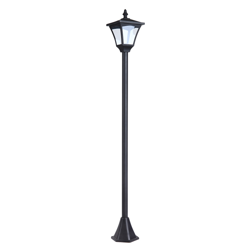 Outsunny Farol Clásico de Jardín IP44 Lámpara de Pie con Luces Solares Inteligentes LED para Exteriores Patio Terraza 15x15x120 cm Negro