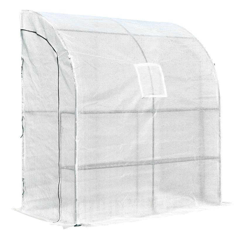 Outsunny Invernadero de Pared para Jardín Terraza con Estantes Ventana y 2 Puertas 200x100x215 cm Color Blanco PE
