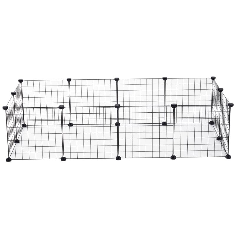 PawHut Valla Metálica para Mascotas con 12 Paneles Parque para Animales Pequeños Desmontable Diseño DIY Negro 106x73x36cm