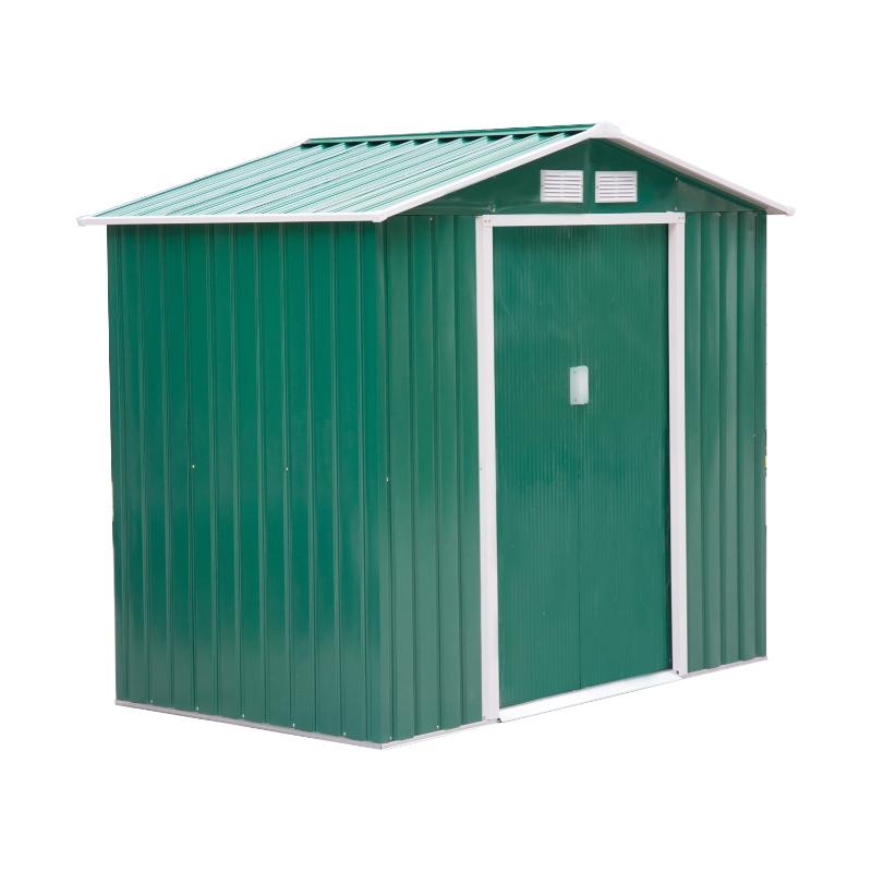 Outsunny Caseta de Jardín Tipo Cobertizo de Exterior de Acero con Puerta Corrediza y Ventilación para Almacenaje de Herramientas Jardinería 213x127x185 cm Verde