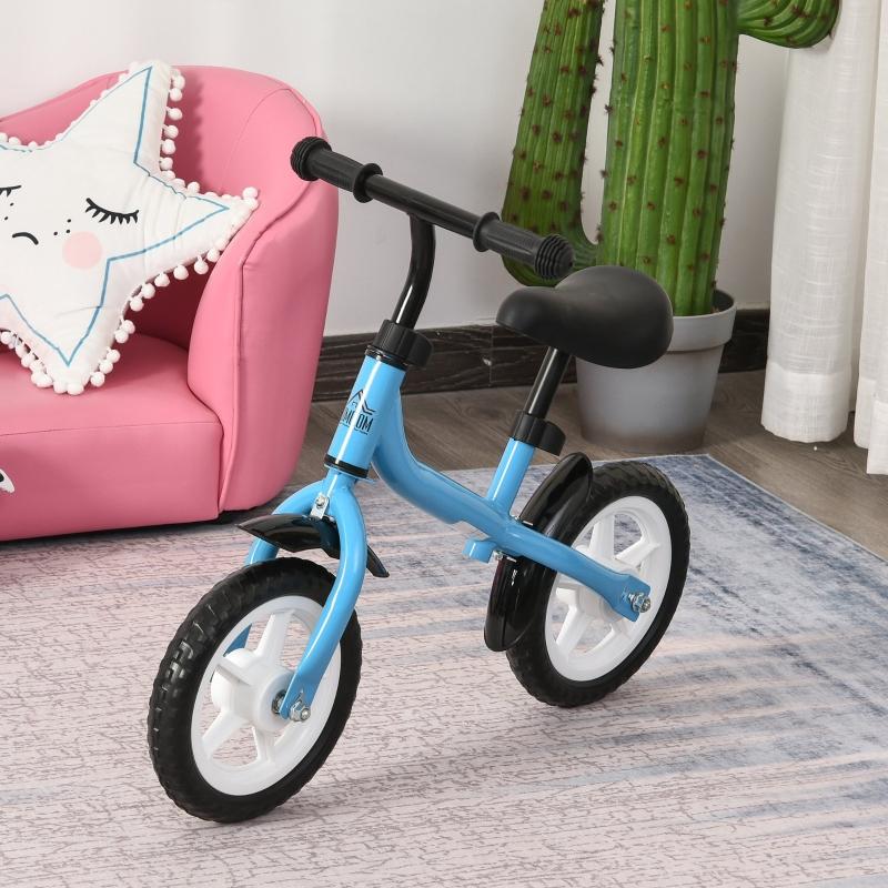 HOMCOM Bicicleta sin Pedales Infantil Altura Ajustable para Principiantes de +3 Años con Ruedas con Relieve Diseño Novedoso Bicicleta de Equilibrio 71x32x56 cm Azul
