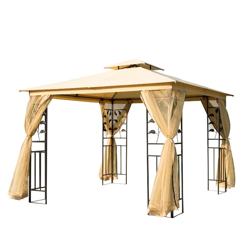 Outsunny Carpa para Exterior con Mosquitera 300x300x265 cm Cenador con Doble Techo Elegante para Jardín Terraza Color Beige