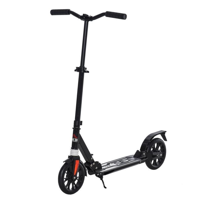 HOMCOM Foldable Adjustable Kick Scooter w/ Rear Wheel Brake, Shock Mitigation for 14+