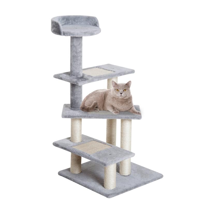 PawHut Rascador para Gatos Árbol Rascador Centro de Actividad 3 Plataformas para Arañar 48x48x99,5 cm Tablero Aglomerado Cubierta de Felpa Sisal