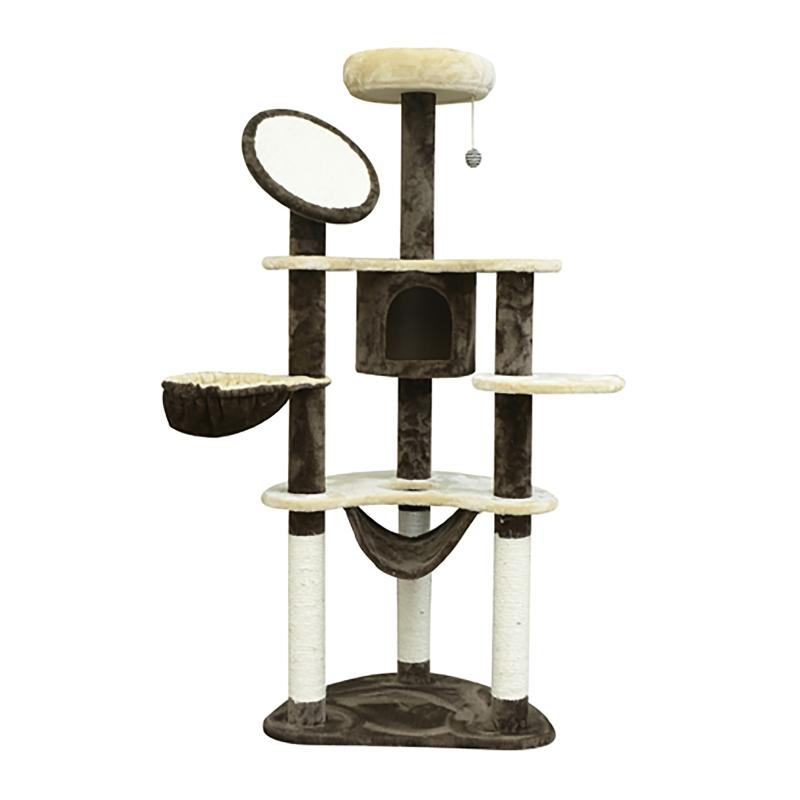 PawHut Rascador para Gatos 153x65x50 cm Arbol para Arañar Poste Centro De Actividades Gato Color Marron