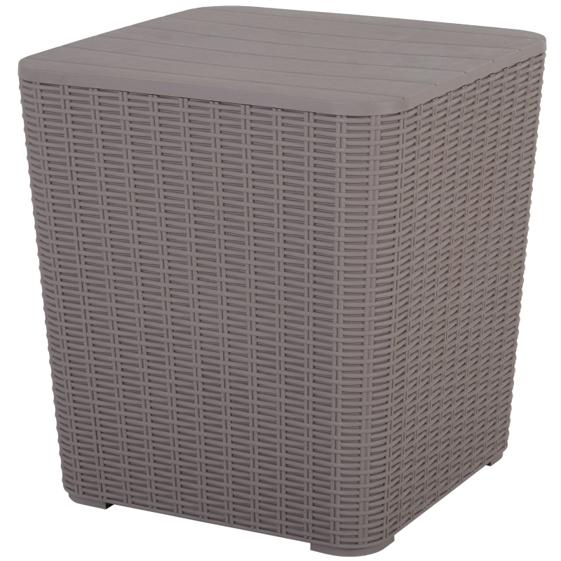 Outsunny 50L Outdoor Rattan-Effect Lift-Top Bar Tea Table Grey