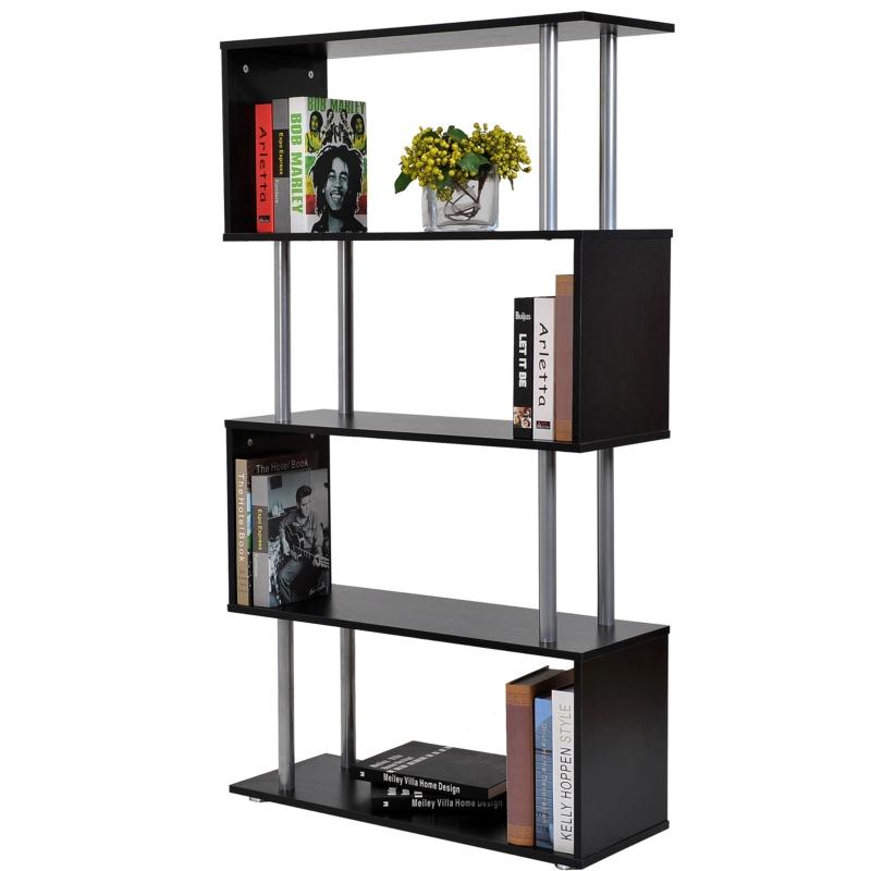 HomCom Librería Estantería Moderna tipo Estante de Pared Muebles de Decoración de Oficina para Libros - Color Negro - MFC PVC - 80x30x145 cm