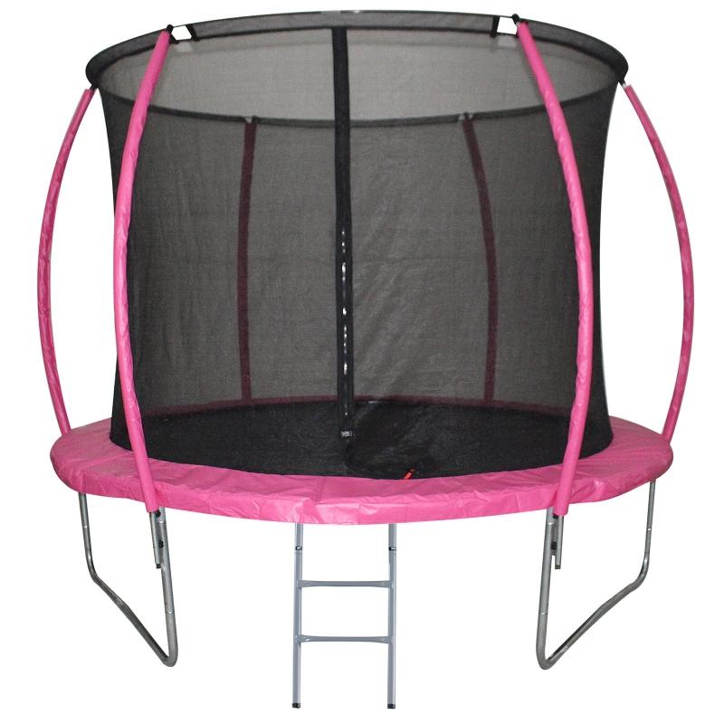 HOMCOM Cama Elástica Multifuncional para Exterior e Interior Trampolín Grande con Red Seguridad y Escalera Carga 100kg Diám.244x205 cm Rosa