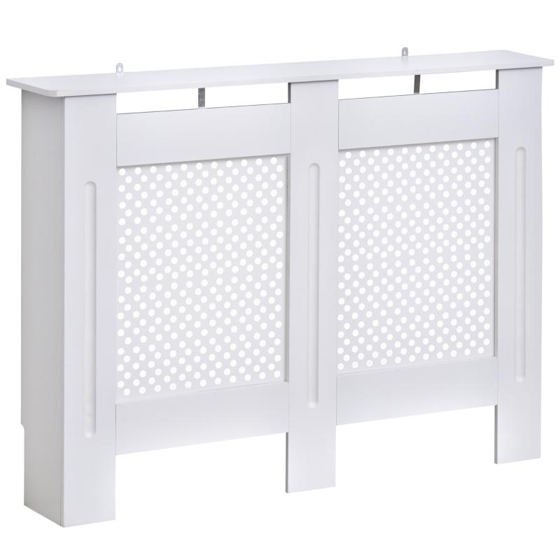 HOMCOM Cubre Radiador Blanco Cubierta de Radiador Madera con Estante y Panel Decorativo Elegante y Moderno 111.5x19x82 cm