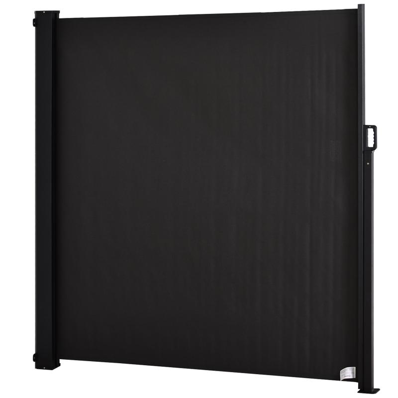 Outsunny Toldo Lateral Retráctil Exterior 350x180cm Pantalla de Privacidad contra Sol Viento Visión para Jardín Patio Balcón Tejado Hecho de Aluminio