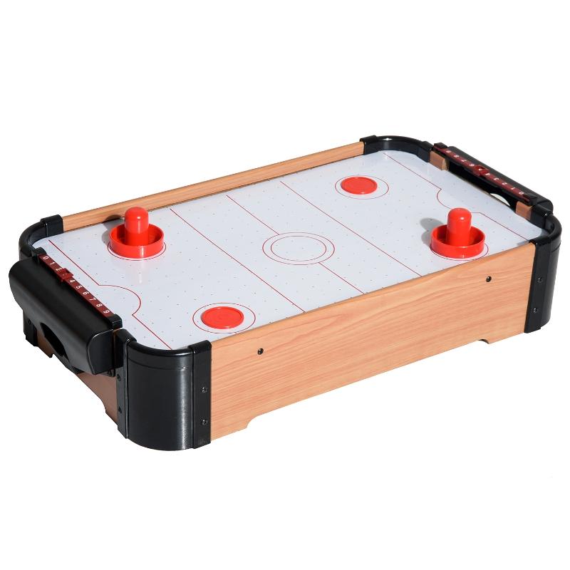HomCom Air Hockey Juego de Mesa de Madera con Ventilador 2 Discos y 2 Empujadores - 56x31x10.5cm