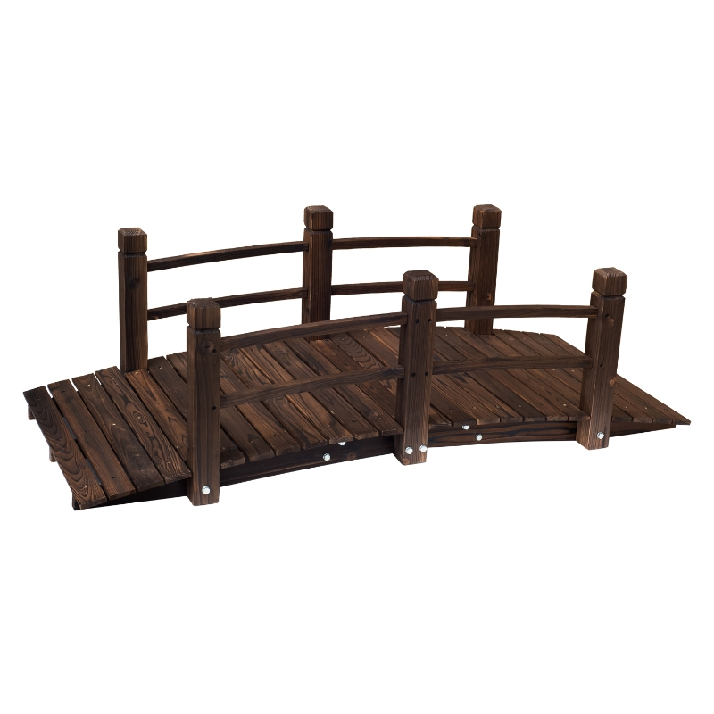 Outsunny Wooden Garden Bridge Lawn Décor Stained Finish Arc Outdoor Pond Walkway w/ Railings