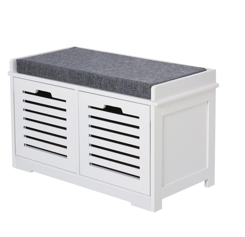 HOMCOM MDF Entryway 2-Drawer Shoe Bench White/Grey
