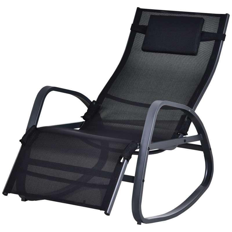 Outsunny Metal Frame Zero Gravity Rocking Patio Chair w/ Pillow Black