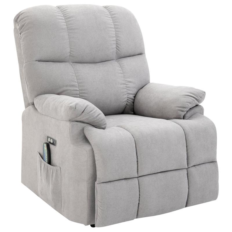 Fotel z masażem Fotel relaksacyjny z funkcją ogrzewania i pilotem do masażu PU Grey 94 x 96 x 104 cm HOMCOM®