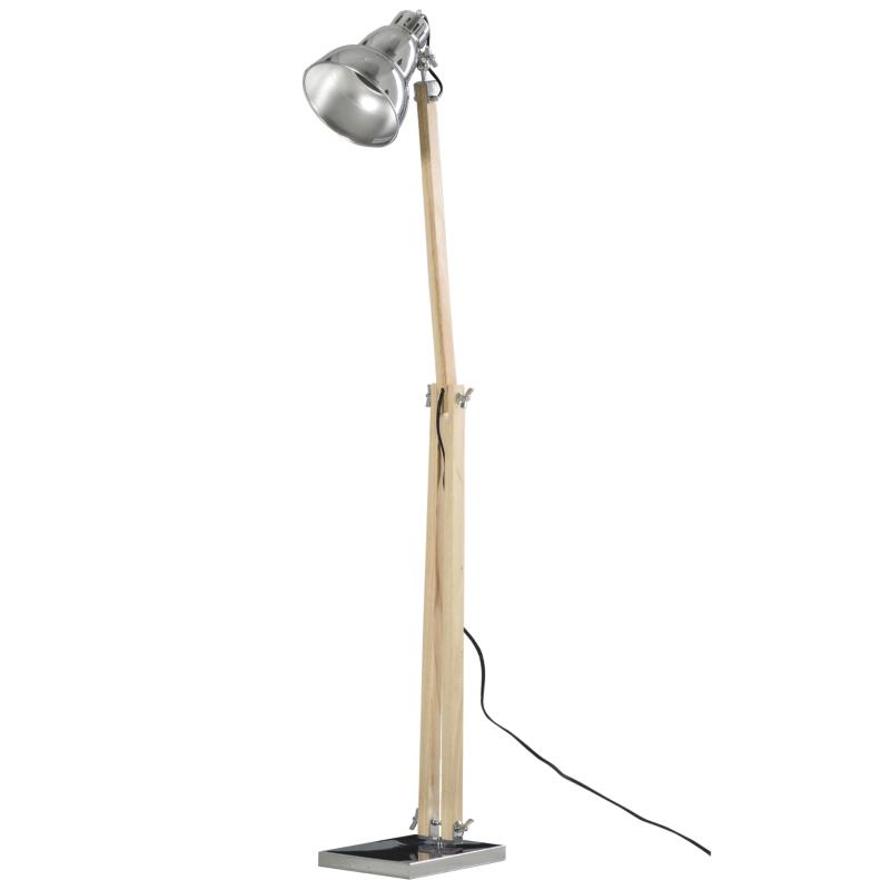 Lampa podłogowa lampa stojąca z regulacją wysokości regulowany klosz E27 lite drewno