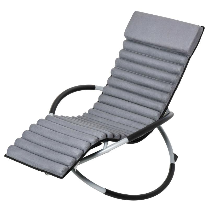 krzesło bujane ergonomia krzesło ogrodowe leżanka bujana tekstylina kulisty szary