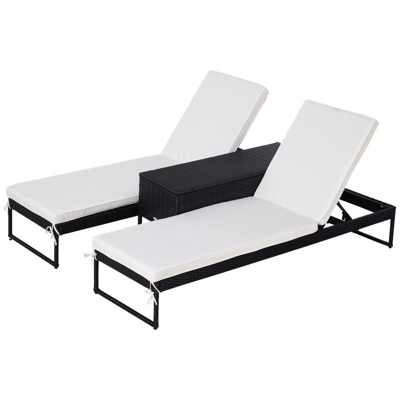Leżak ogrodowy Leżak wypoczynkowy Leżak podwójny Stolik dla 2 osób 5-stopniowy PE kremowy