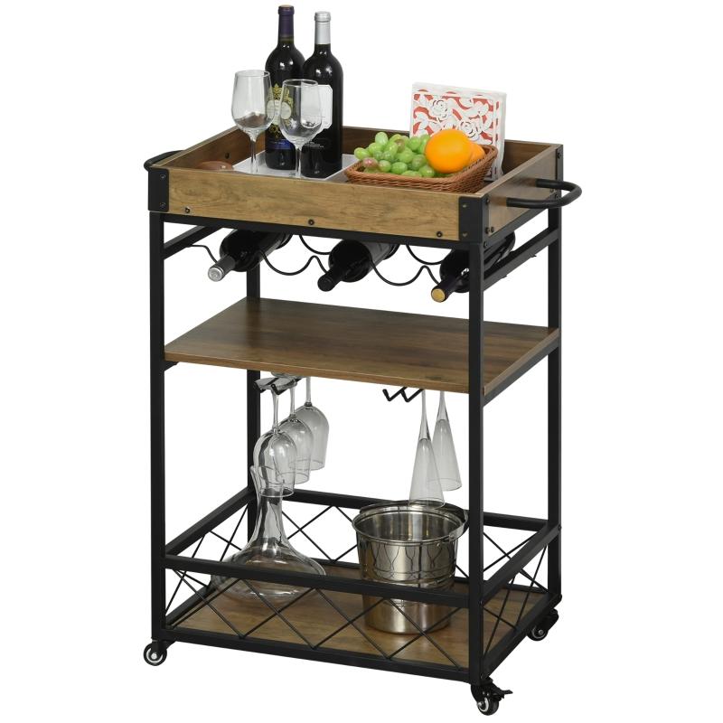Wózek kuchenny wózek do serwowania z półką na wino i uchwytem na kieliszki hamulcami metal
