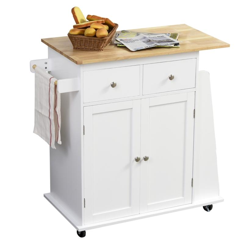 Wózek kuchenny na kółkach, wózek do serwowania, szafka kuchenna z regałem na przyprawy, drewno kauczukowe, kolor biały