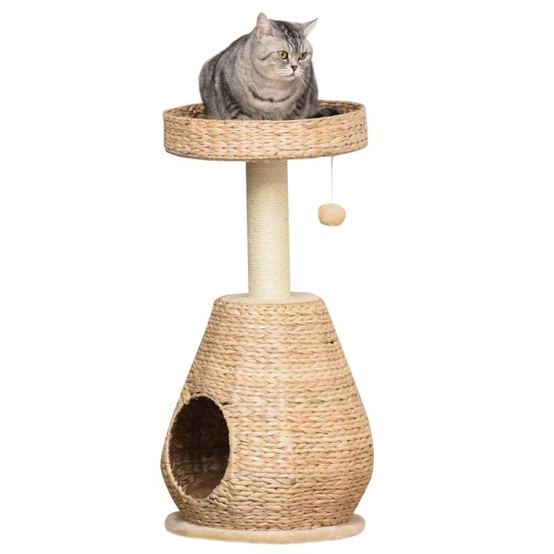 Drapak dla kota Drapak do ostrzenia pazurów z jaskinią dla kota sizal wysokość 82,5 cm miękki plusz żółty