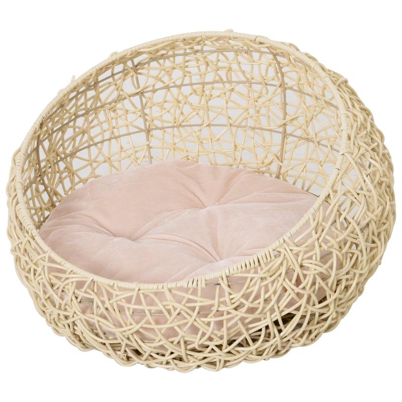 PawHut domek dla kota PawHut z poduszką, legowisko dla kota, rattan PCW, kolor beżowy, Ø56 x 35 cm