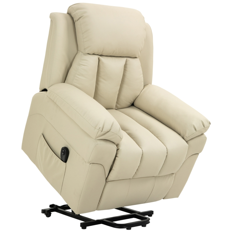 Fotel TV elektryczny kremowy HOMCOM