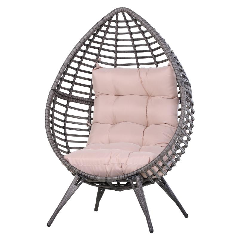 Fotel rattanowy w kształcie kropli Fotel ogrodowy krzesło rattanowe poduszka siedziska Metal Beżowy Outsunny®