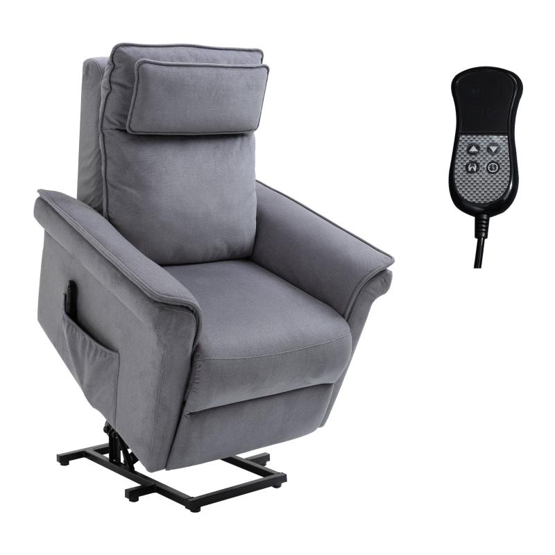 Fotel podnoszony z funkcją wstawania fotel telewizyjny z funkcją leżenia tkanina o fakturze płótna kolor szary