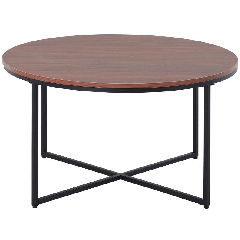 Okrągły stolik imitacja drewna Stolik kawowy metalowe nogi płyta wiórowa brązowy