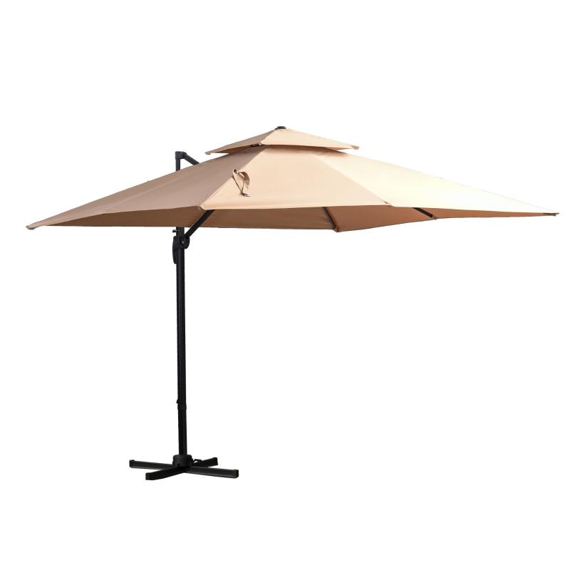 Parasol 3x3m parasol ogrodowy aluminium parasol na taras obracanie o 360 stopni kolor khaki