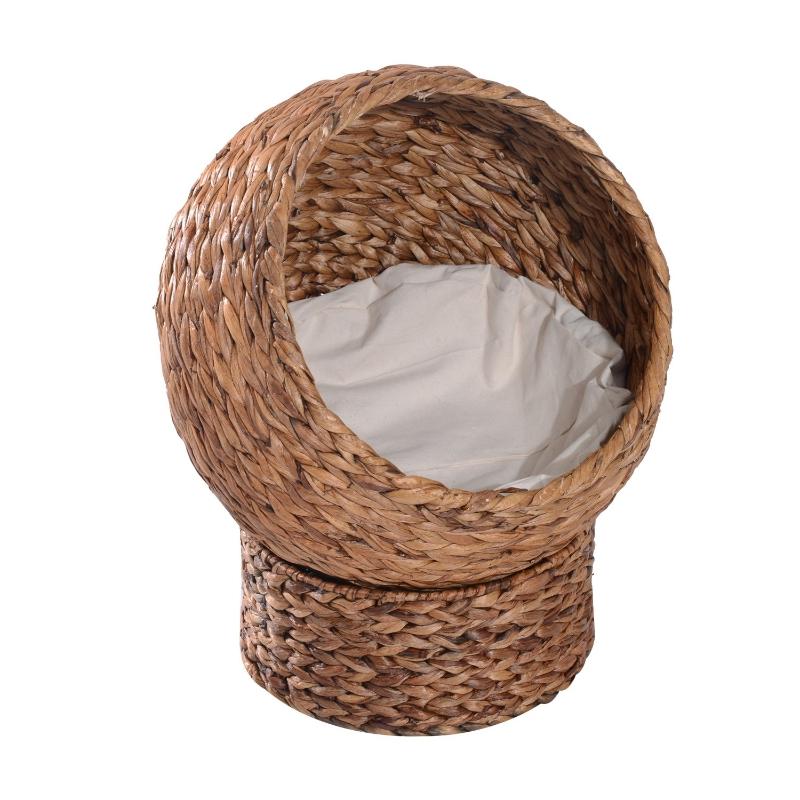PawHut miejsce do spania dla kota, legowisko dla kota, z poduszką, jaskinia dla kota, liść bananowca, kolor brązowy, 42 x 33 x 52 cm