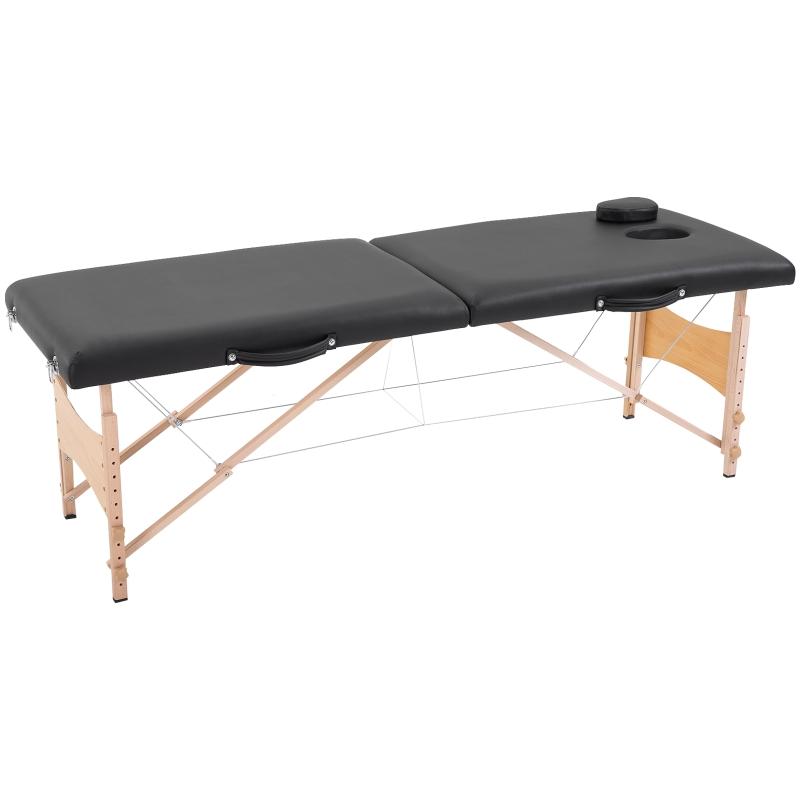 HOMCOM® Stół Łóżko do Masażu Przenośny Regulacja Wysokości Łóżko Kosmetyczne Buk Czarny