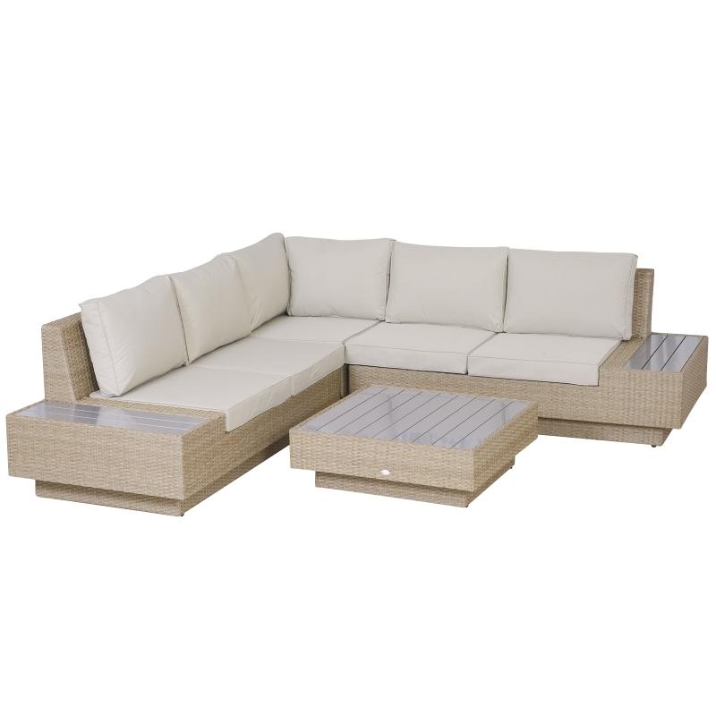 4-częściowy komplet mebli ogrodowych z technorattanu ogrodowy zestaw wypoczynkowy z półkami