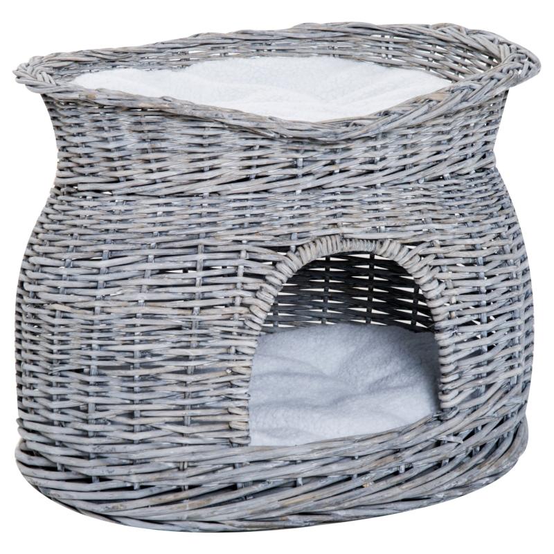 PawHut® Domek dla Kota Koszyk Budka dla Kota 2-poziomowy Słupek 2 Poduszki Wiklina Szary