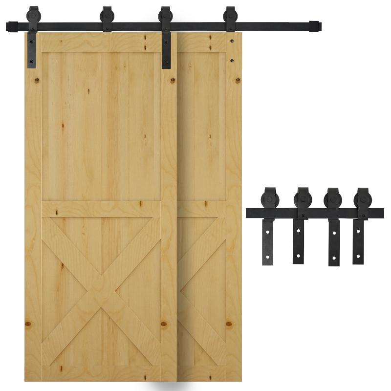 System do drzwi przesuwnych prowadnica okucie do drzwi przesuwnych drewniane drzwi przesuwne 9 akcesoriów w kolorze czarnym